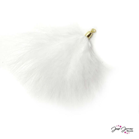 Pendant Bohemian Feather in Snow White