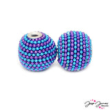 Boho Bead Pair in Blueberry Twist
