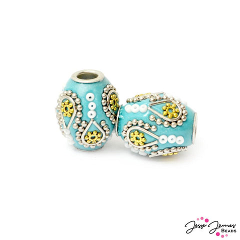 Boho Bead Pair in Blue Margarita