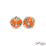 Boho Bead Pair in Tangerine