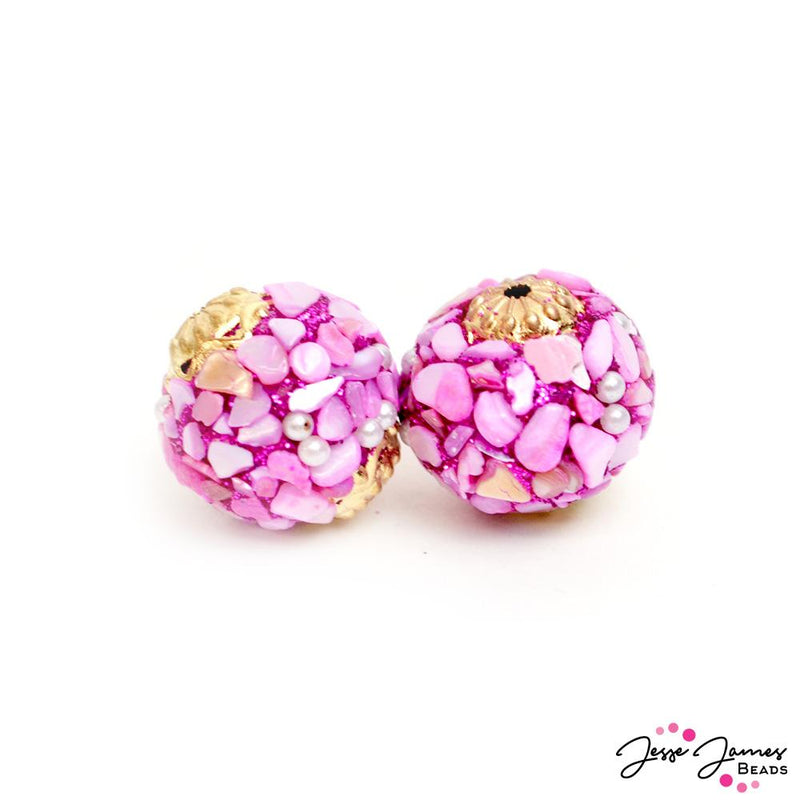 Boho Bead Pair in Tickled Pink