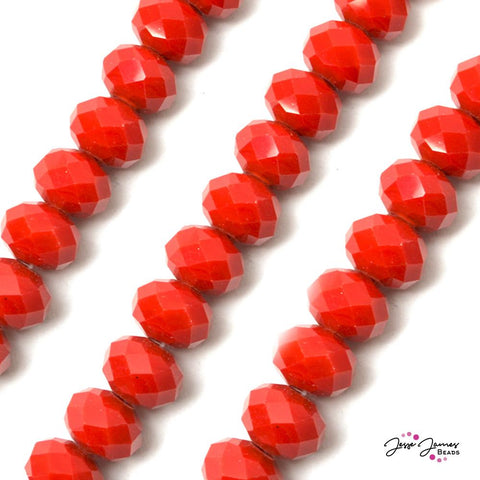 Bead Set in Fire Engine Red 14MM Opaque Big Boy Rondelle Beads