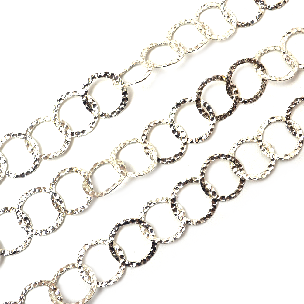 Chain Bright Silver Hammered Cable Metal