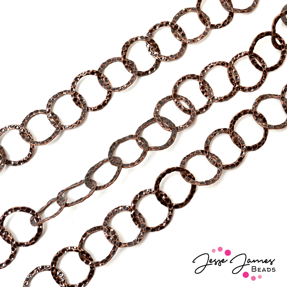 Copper Hammered Cable Metal Chain