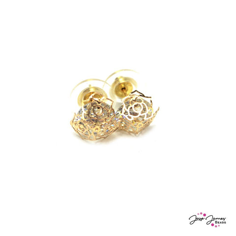 Cage Crystal Rose Earring Components