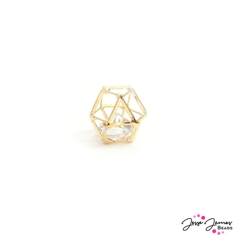 Caged Crystal Bead in Gold 12mm