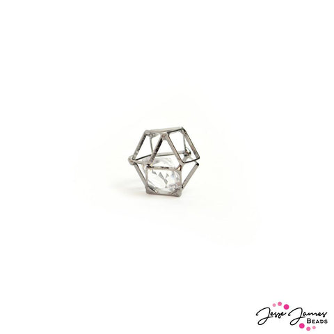 Gunmetal Cage Crystal Mini Bead 12mm