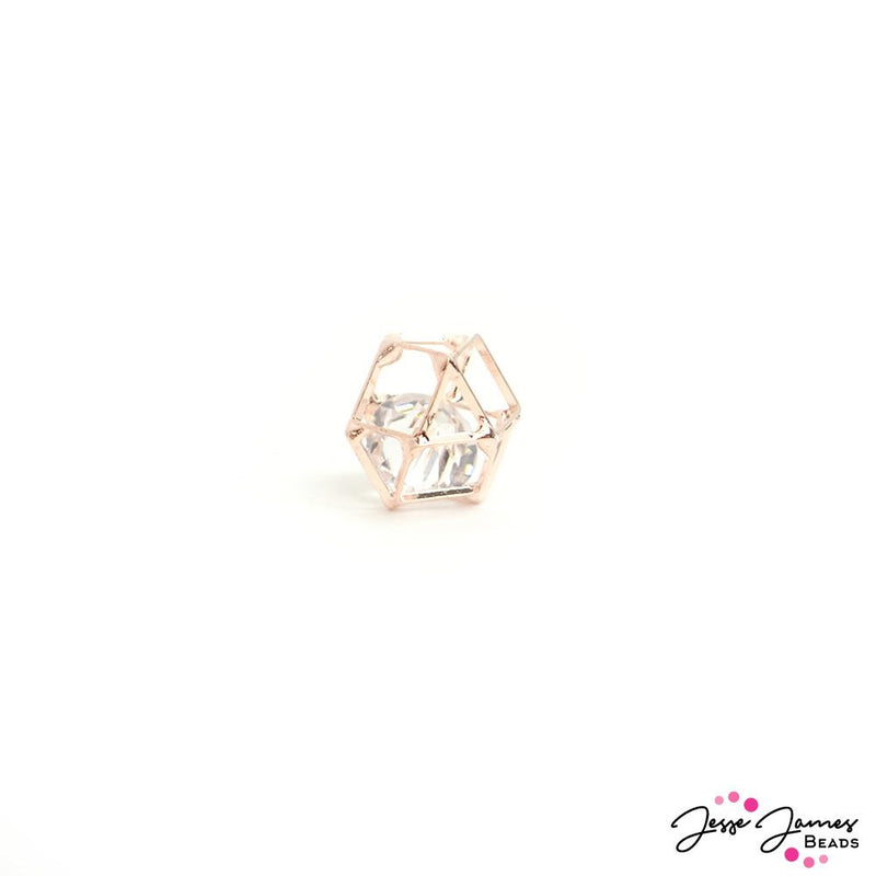 Caged Crystal Bead in Rose Gold 12mm