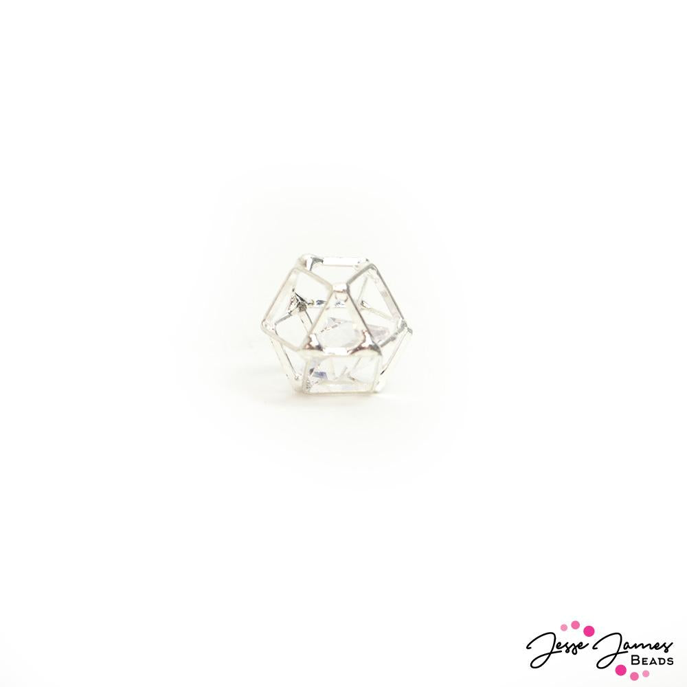 Caged Crystal Bead in Silver 12mm