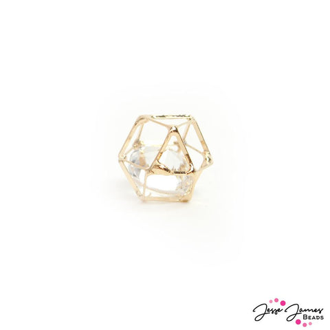 Caged Crystal Bead in Gold 14mm