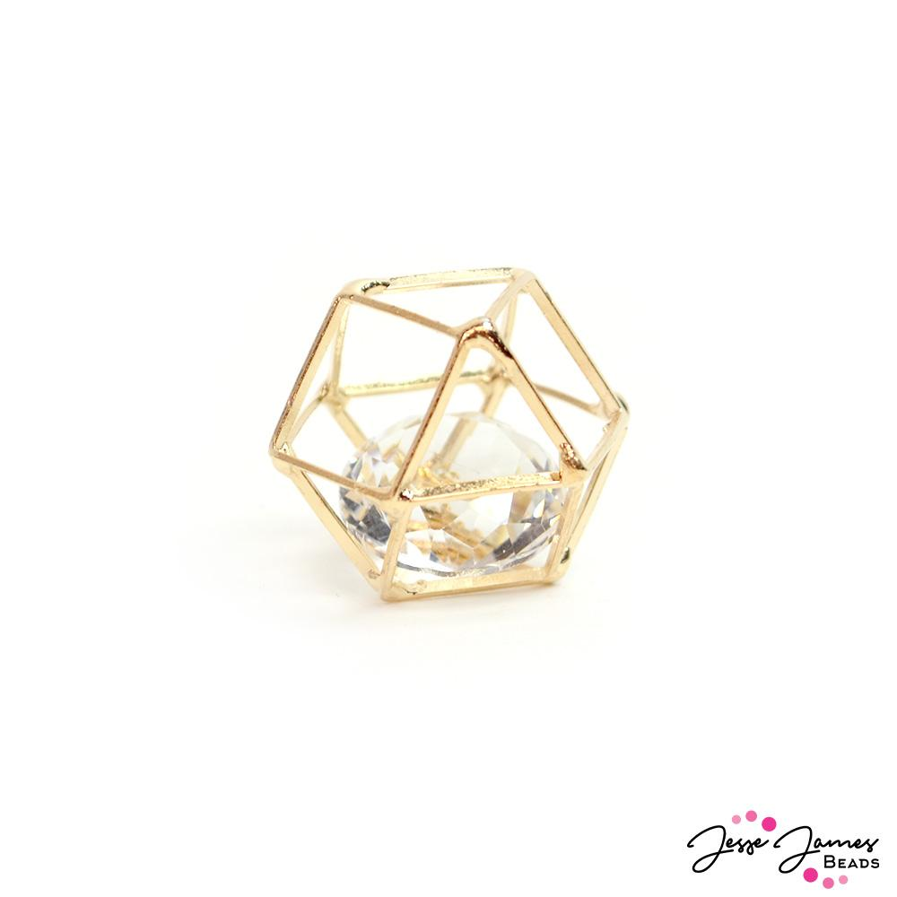 Caged Crystal Bead in Gold 20mm