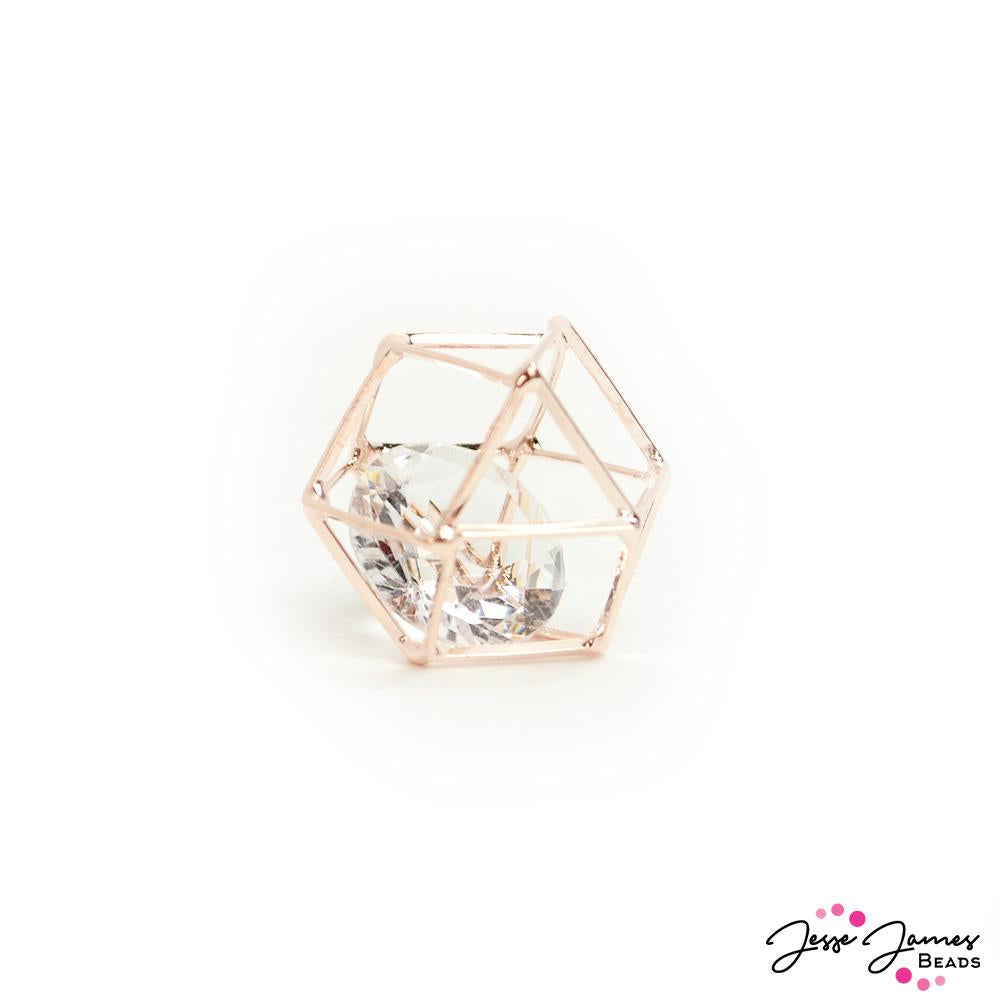 Caged Crystal Bead In Rose Gold 20mm