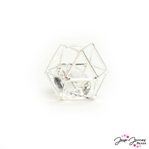 Caged Crystal Bead in Silver 20mm