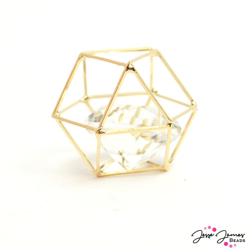 Caged Crystal Bead in Gold 25mm
