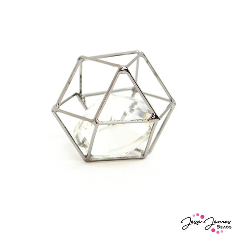 Caged Crystal Bead in Gunmetal 25mm