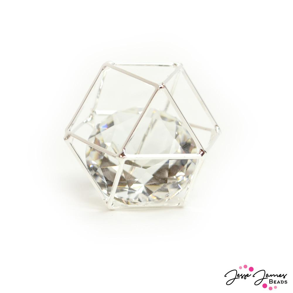 Caged Crystal Bead in Silver 25mm