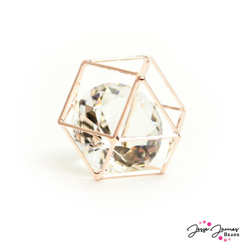 Caged Crystal Bead in Rose Gold 25mm