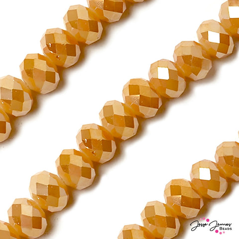 Caramel Tan 14mm Big Boy Rondelle Beads