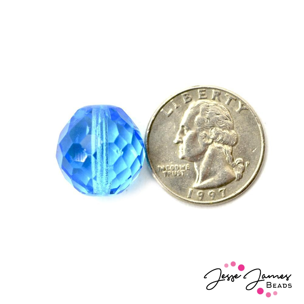 Cerulean Sky Big Boy Czech 18mm Beads