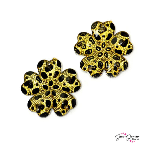 Cheetah Blossoms Charm Pair