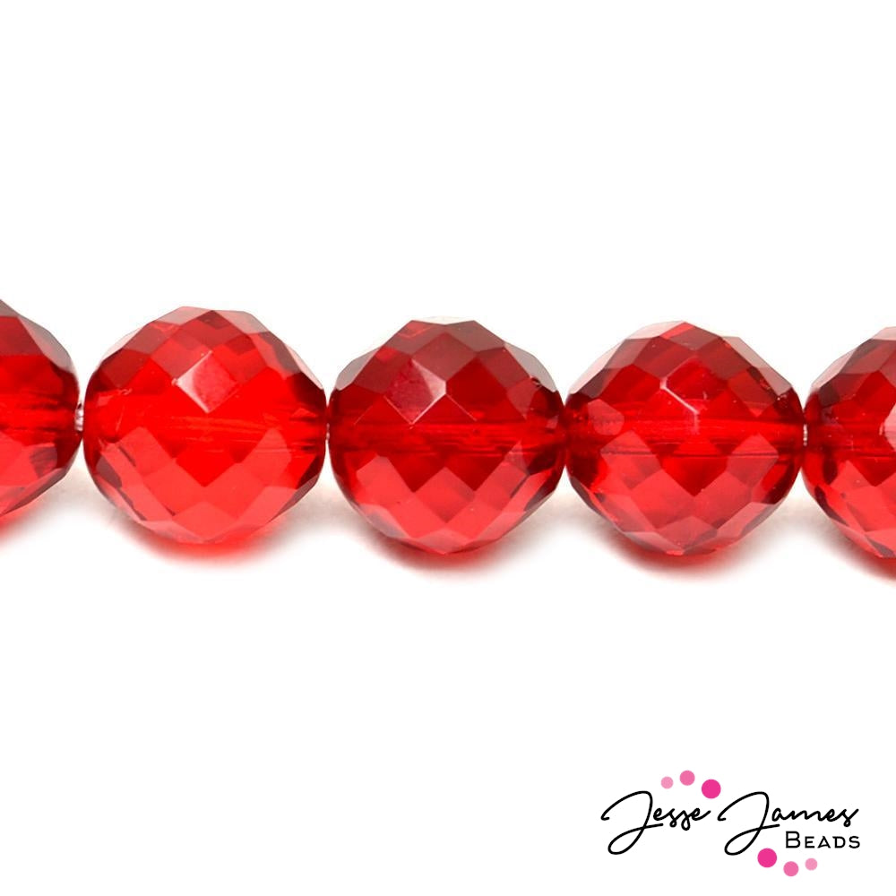 Bead Set in Red Cherry  Big Boy Czech 18mm Glass Beads