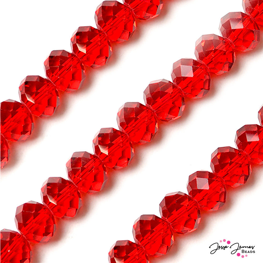 Cherry Red 14mm Big Boy Glass Rondelle Beads