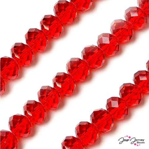 Bead Set in  Cherry Red 14mm Big Boy Glass Rondelle Beads