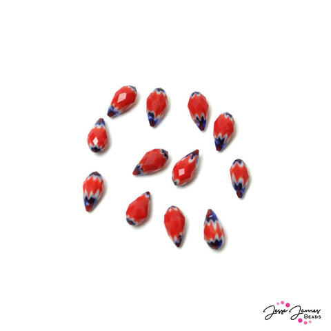 Bead Set Chevy Chevron Red Teardrop