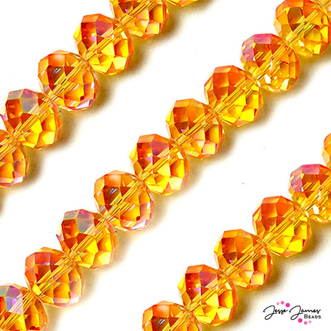 Bead Set Citrus Orange Big Boy 16mm Glass Rondelle Beads