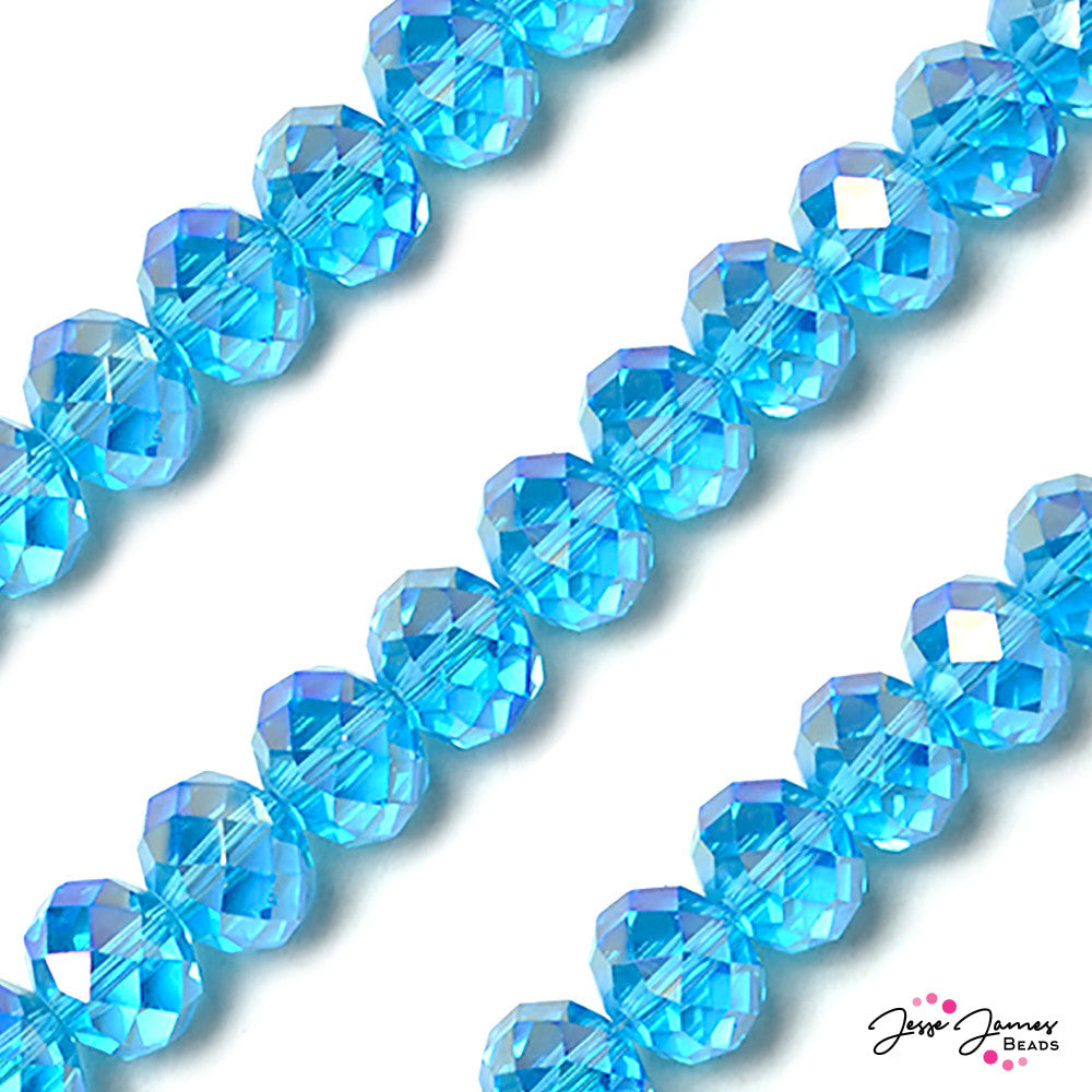 Blue Bird Skies 14mm Big Boy Rondelle Glass Beads