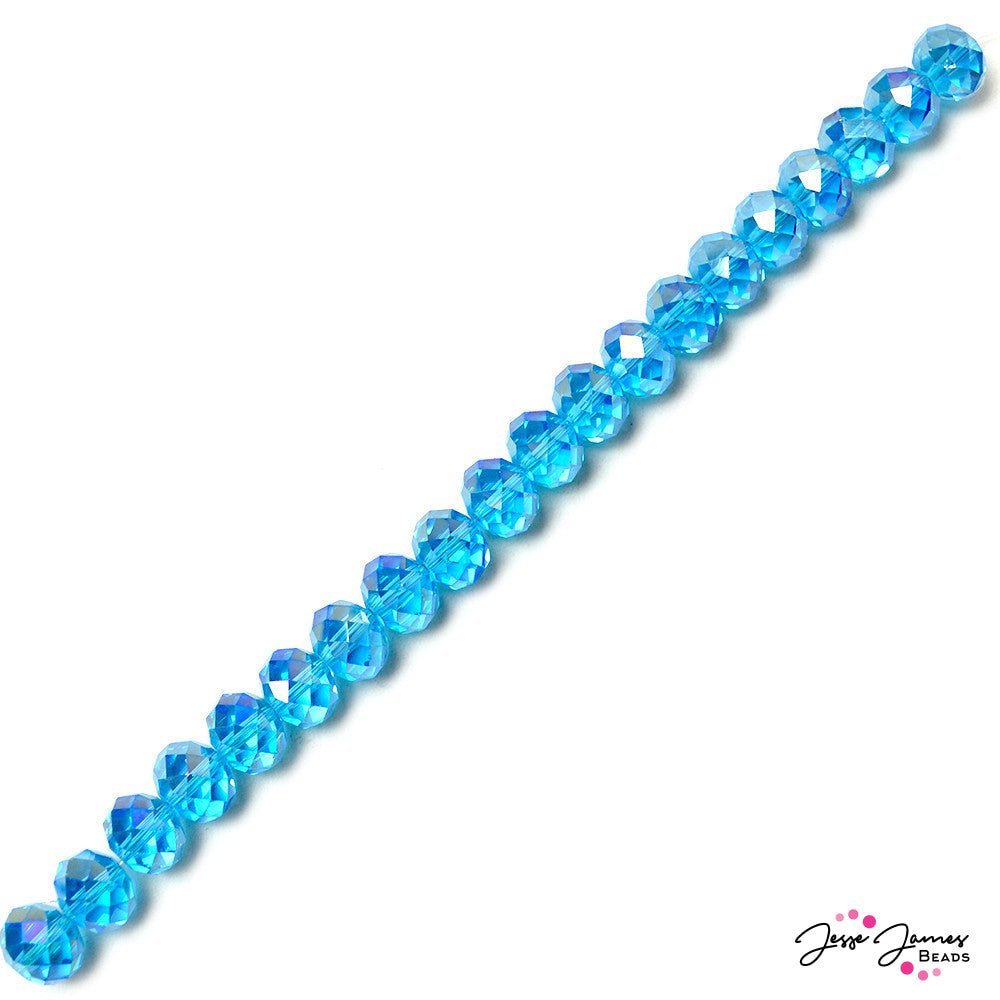 Clear Blue Skies 14mm Rondelle Bead Strand