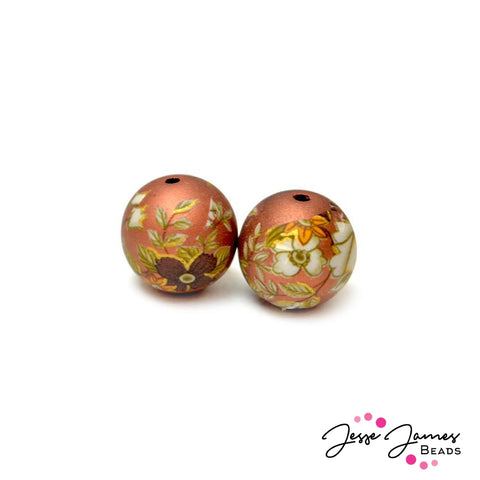 White Rose on Copper 12MM Japanese Tensha Bead Pair