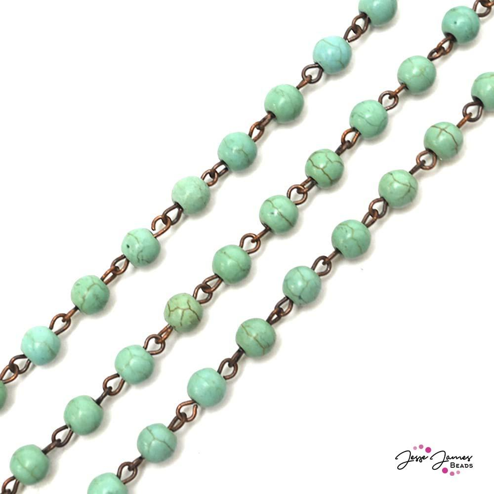 Crackled Turquoise Beaded chain