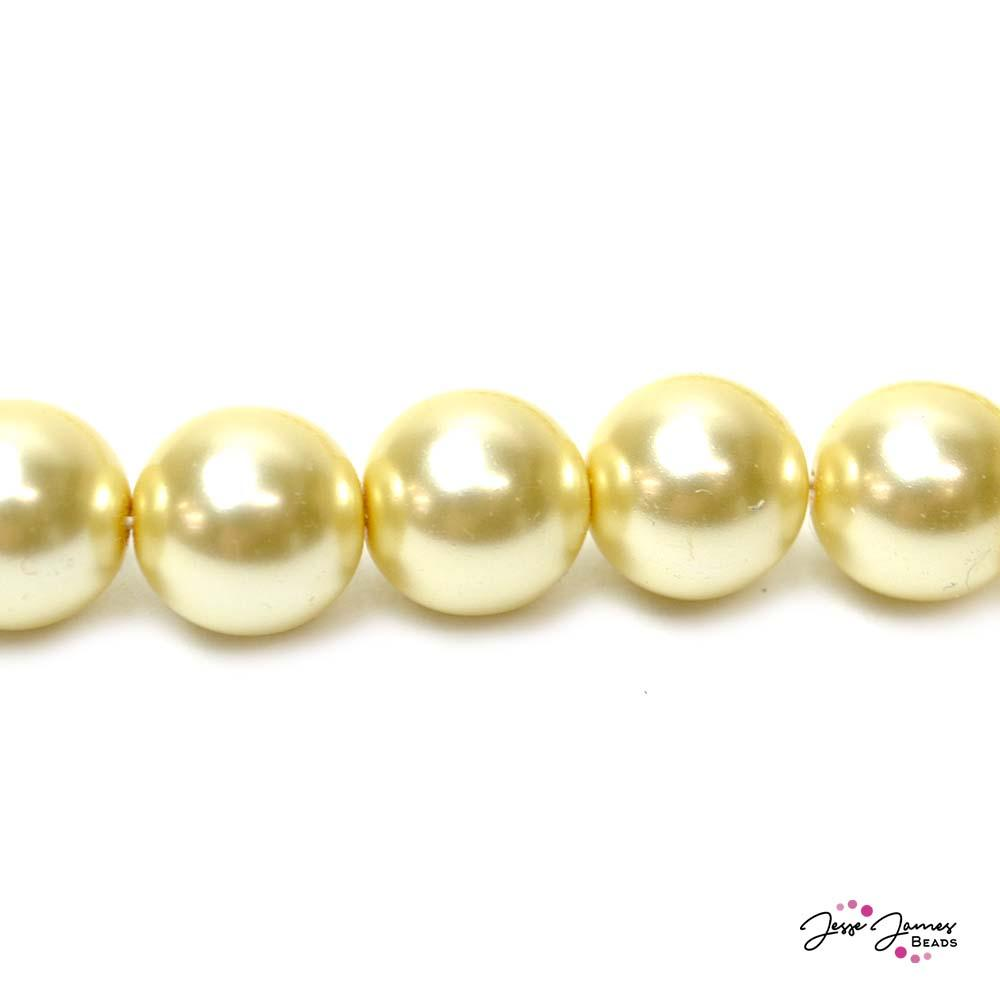 Creme Big Boy 14mm Czech Glass Pearls