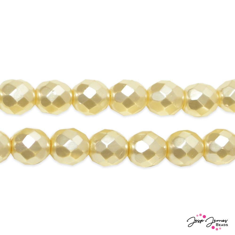 Cream Faceted Pearlized Czech Beads