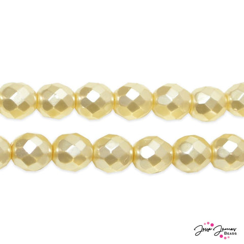 Cream Faceted Pearlized Fire Polish Czech Beads 8 mm 50 Pieces