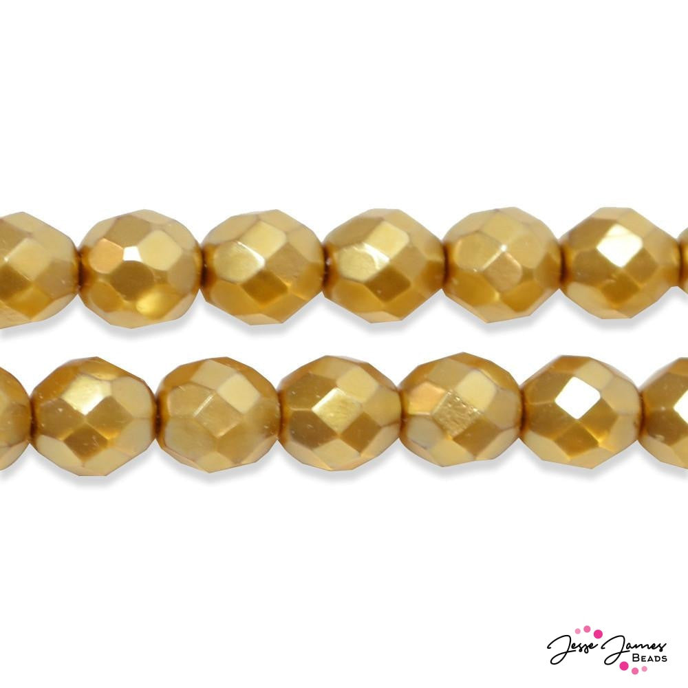 Golden Faceted Pearlized Round Czech Beads