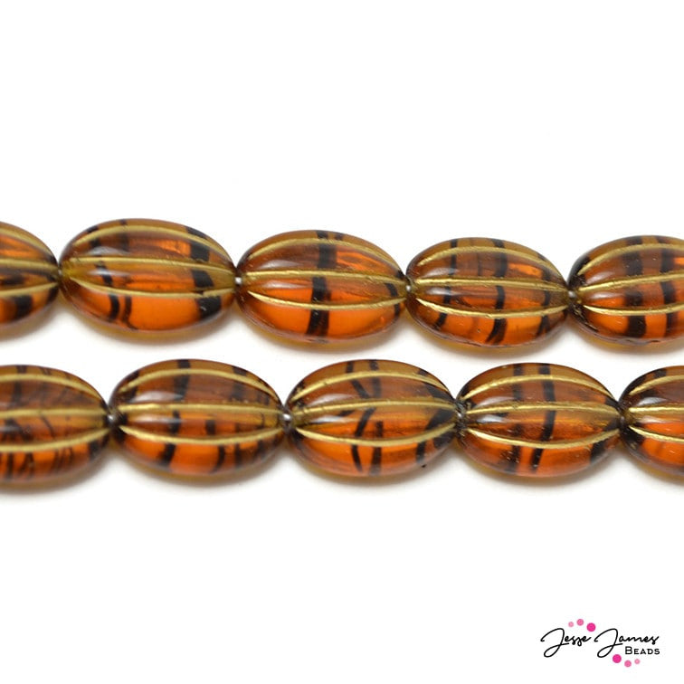 Tortoise & Gold Oval Mellon Ribbed Beads 15x10 mm 25 pieces