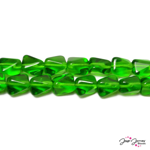 Green Light Emerald Twisted Cube Czech Beads 11x9 mm 50 pieces