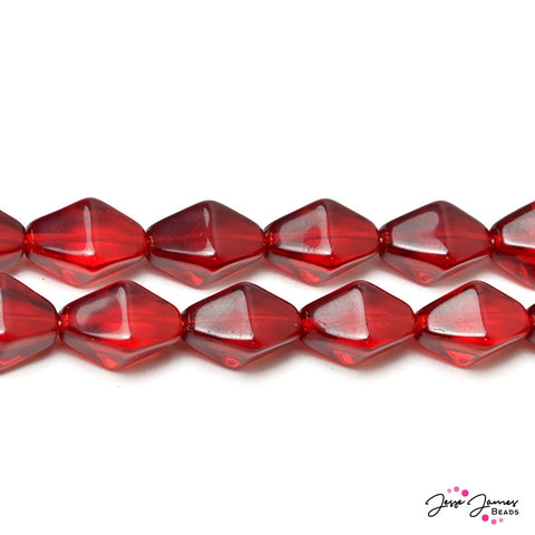 Ruby Red Lantern Czech Beads 13x10 mm 30 pieces
