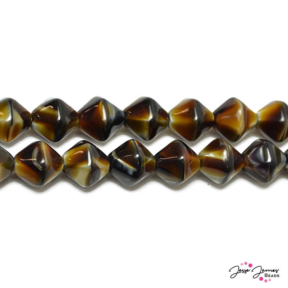 Tiger Eye Roundelle Czech Glass Beads 12mm 30 pieces
