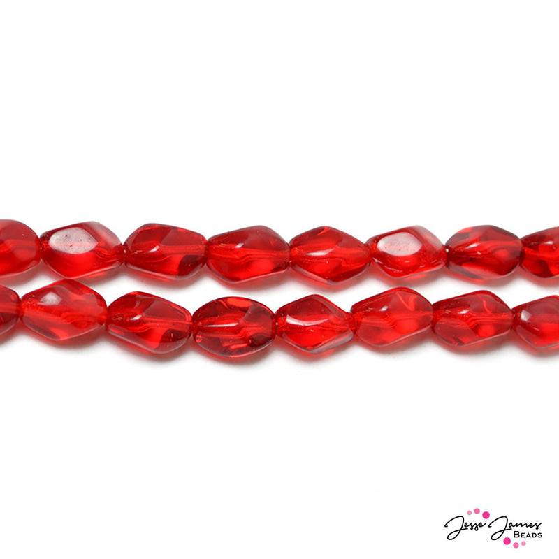 Ruby Red Baroque Twisted Beads 13x9 mm 50 pieces