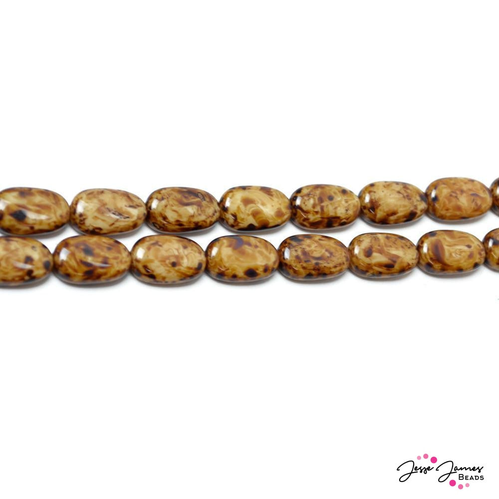 Brown Agate Oval Czech Glass Beads
