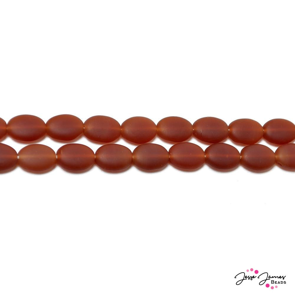 Matte Carnelian Orange Flat Oval Czech Beads