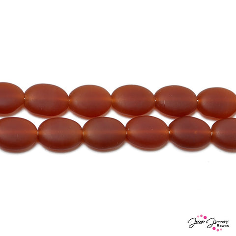 Orange Matte Carnelian Flat Oval Czech Beads 12x9 mm 50 pieces