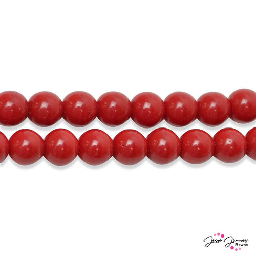 Cherry Red Durk Czech Round Glass Beads