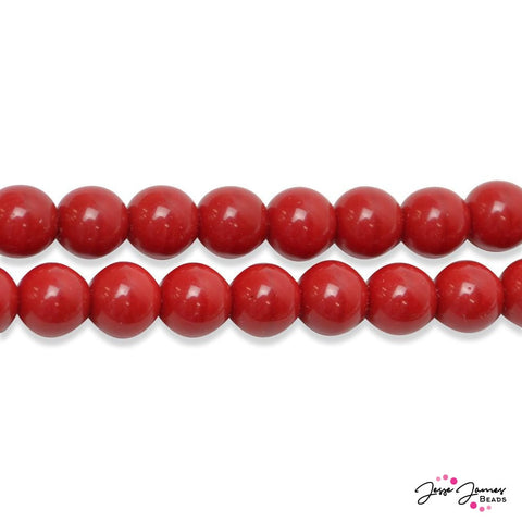 Red Cherry  Opaque Czech Round Glass Beads 8mm 50 pieces