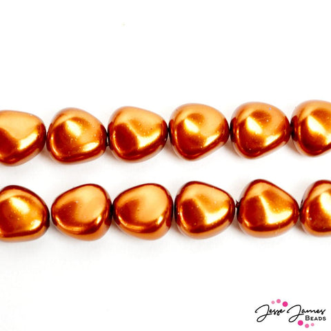 Brown Copper Potato Pearl Czech Glass Bead Set