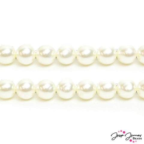 White Vintage Pearls Czech Glass Bead Set