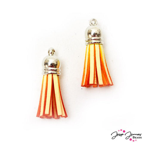 Dip Dyed Tassel Pair in Candy Corn